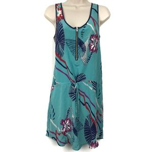 Yumi Kim 100% Silk Zipper Floral Tank Top Dress